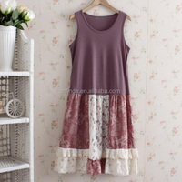 Fashion Cutting Blouse Design Ladies New Style Trendy Bulk Buy Sleeveless Contrast Color Lace Cotton Dress Women Summer