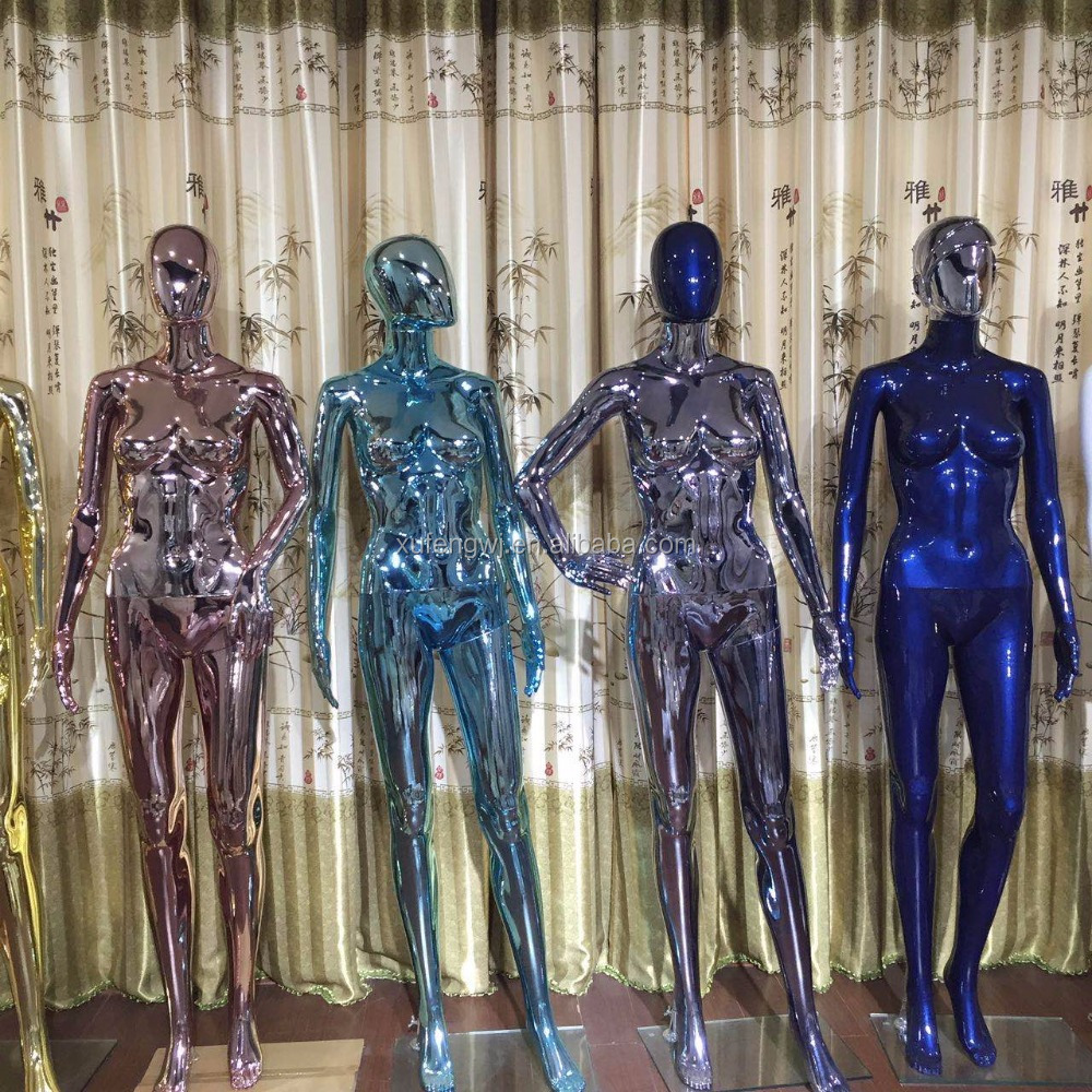Full Body Shinning Customized Color Colorful Plastic Plated Chrome Female Mannequin