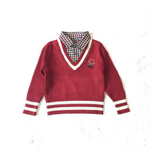 autumn kids boy children sweater baby boys plaid shirts collar knitted polo sweater colorful stripe cuffs&hem child pullover
