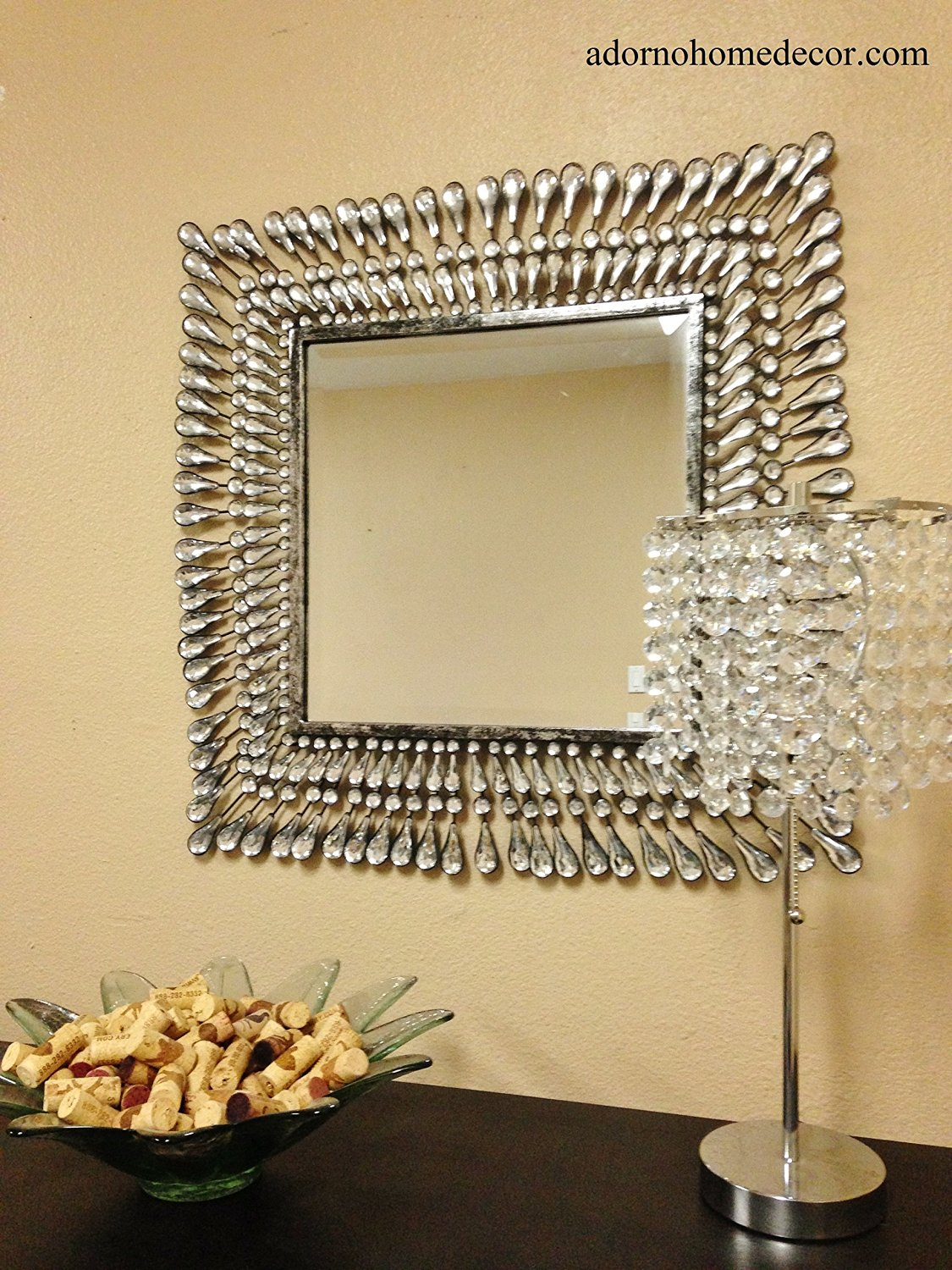 Buy Metal Wall Square Crystal Mirror Rustic Modern Crystal Wall ...