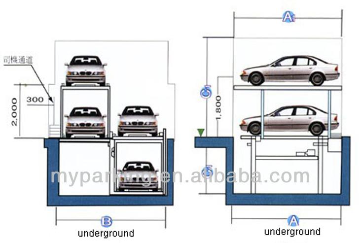 Residential Pit Garage Parking Car Lift Smart Car Parking System