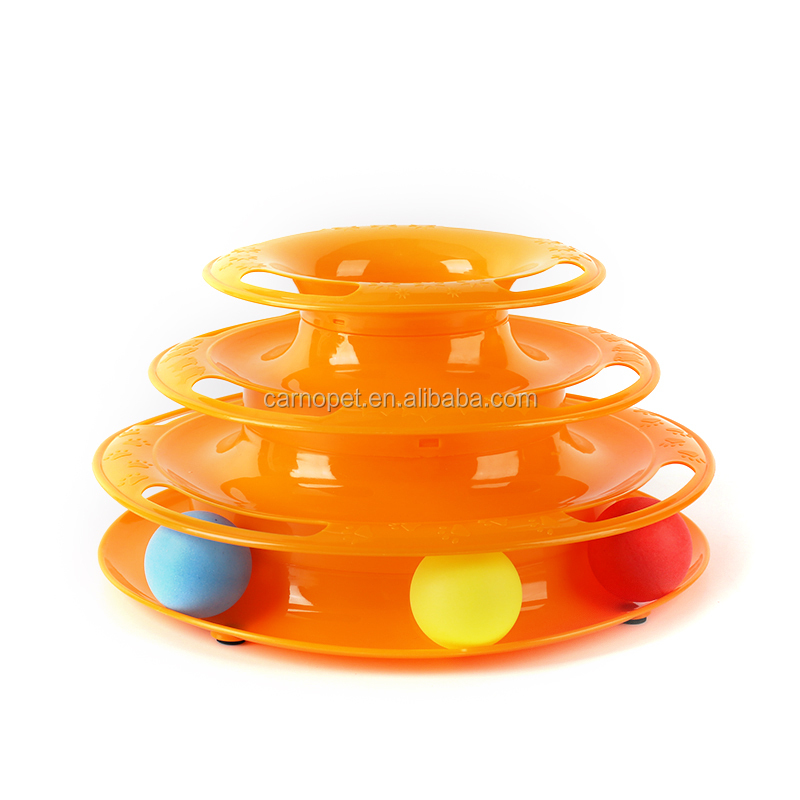 Carno Adjustable Pet Toys 3 Layers Round Funny Cat Toy Plastic Turntable Detachable Pet Cat kitten Interactive Toy