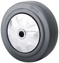 Grey rubber wheel for hand trolley and cart, with plastic threa guard, double ball bearing