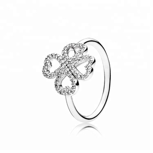 Beautiful Petal Gem 925 Silver Charm Ring copy ring for woman
