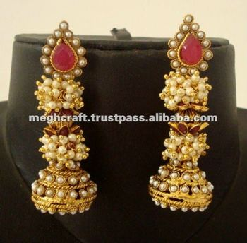 Indian Traditional Pearl Jhumka Earrings Gold Plated Fashion Peal Bollywood Style