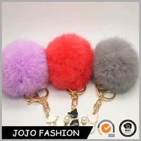 Low Price Bulk Wholesale Mini Cat Rabbit Fur Pom Pom Toy Keychain