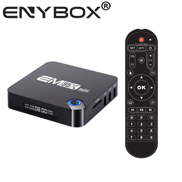Eny Groothandel Amlogic S905W Android 7.1 Wifi Google 4 k Set Top TV Box EM95X mini