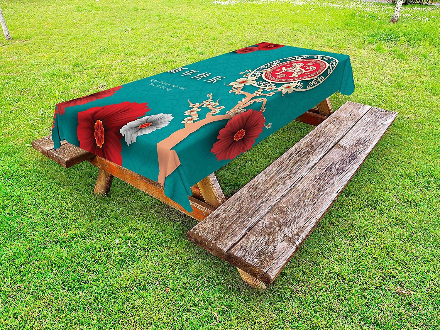 Ambesonne Year of the Dog Outdoor Tablecloth, Ornate Oriental Motifs with Flowers and Flourishing Tree Lunar Festival, Decorative Washable Picnic Table Cloth, 58 X 84 Inches, Multicolor