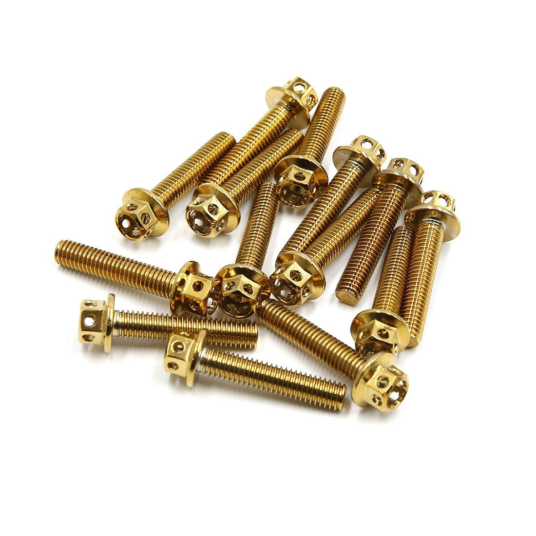 uxcell 14pcs Gold Tone M6 x 30mm Motorcycle Titanium Alloy Hexagon Bolts Clips Screws