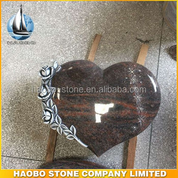 Himalaya Blue SRE Granite Heart Shaped Headstone with Engraved Rose