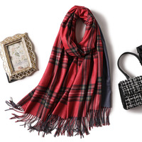 New Fashion Top Grade Classic Plaid Tassels Cashmere Pashmina Comfortable Woman Scarf