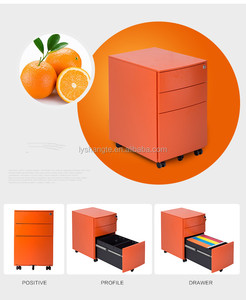 three drawers orange metal moving filing cabinet for sale