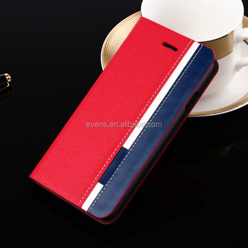 Contrast color Fashion PU Leather Wallet Flip Mobile Phone Case Cover For Nokia 900