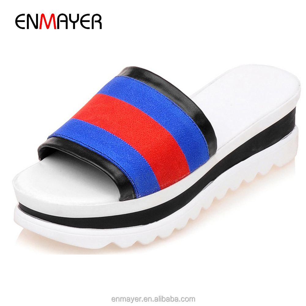 Korean fanshion color splicing stripe canvas women flat summer <strong>slippers</strong> with light thick outsole