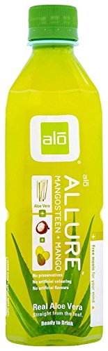 ALO Allure Aloe Vera Juice Drink, Mangosteen Plus Mango, 16.9 Ounce (Pack of 12), Cane-Sugar Sweetened, Aloin-Free, No Artificial Flavors Preservatives or Colors, Gluten Free, Vegan