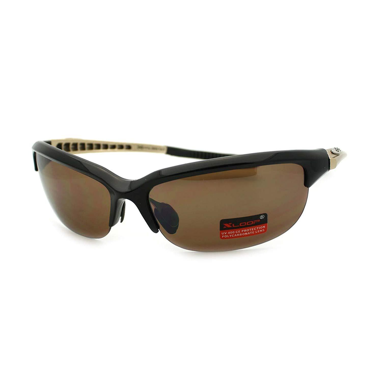 fe688d8393 Get Quotations · X Loop Mens Light Baseball Half Rim Sports Warp Plastic  Frame Sunglasses