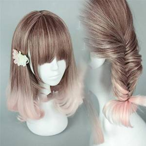 Suuny Queen Brown T pink Colors GirlRemy Ombre wig Full Head Short Wavy Wig, Cheap Curly Ombre Wavy Synthetic Wig, Heat Resistant Cosplay Wigs