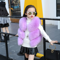 New fashion sleeveless outerwear baby girls winter faux fox fur vest