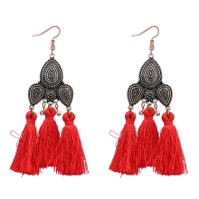 Hot sale vintage bohemian style red cotton tassel earrings for women