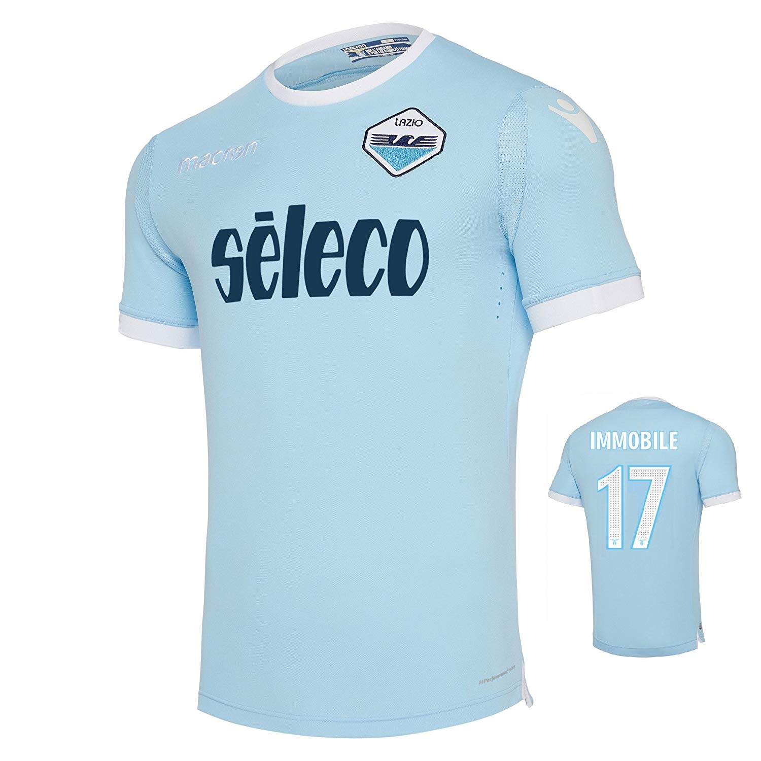 5066e5016aa Get Quotations · SS Lazio Authentic Home Immobile Jersey 2017 18 Macron  (Original Printing)