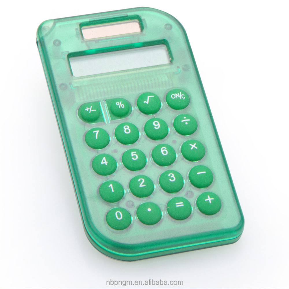 Colors Solar Transparent Calculator, Dual Power Calculator, 8 Digits Creative Promotional Gift