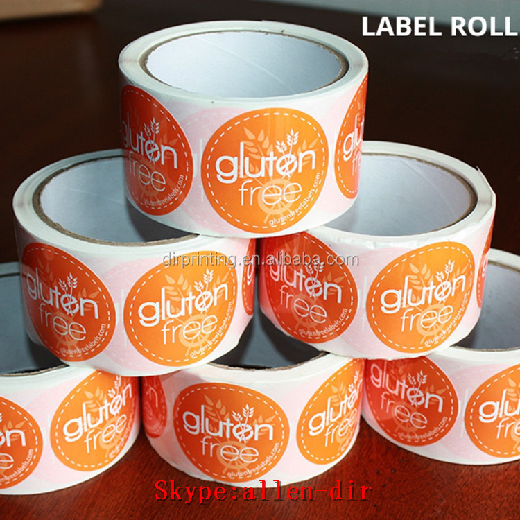 custom design wholesale round shaped paper sticker/lable design glossy lamination waterproof adhesive label printing