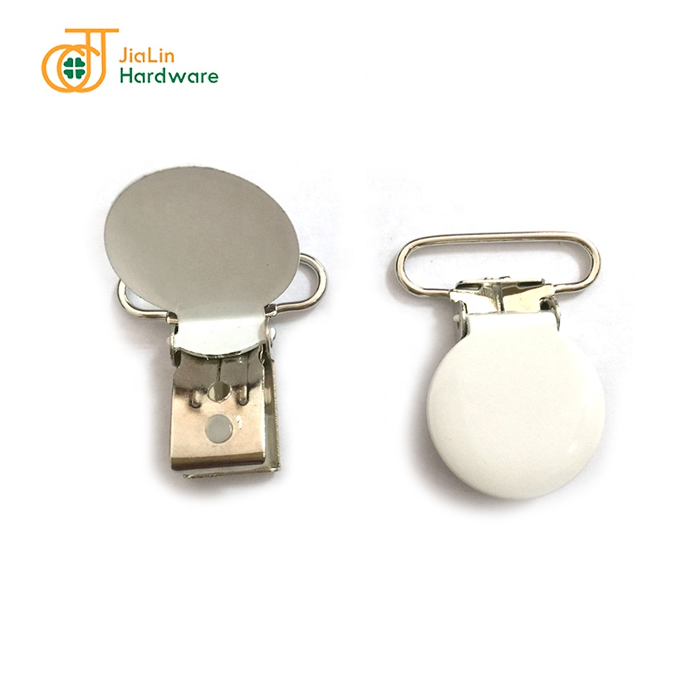 Metal suspender clip round shaped baby pacifier clip White Suspender Clip made in china