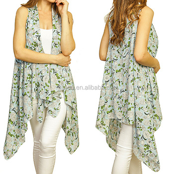 Summer Beach Wear Sleeveless Sexy Vest Flower Printed Cover up Lady Kimono Style Polyester Vintage Boho Clothing