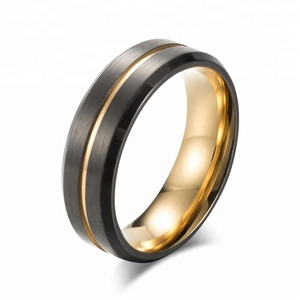 MECYLIFE Stainless Steel Jewelry Two Tones IP Black 18K Gold Rings For Men