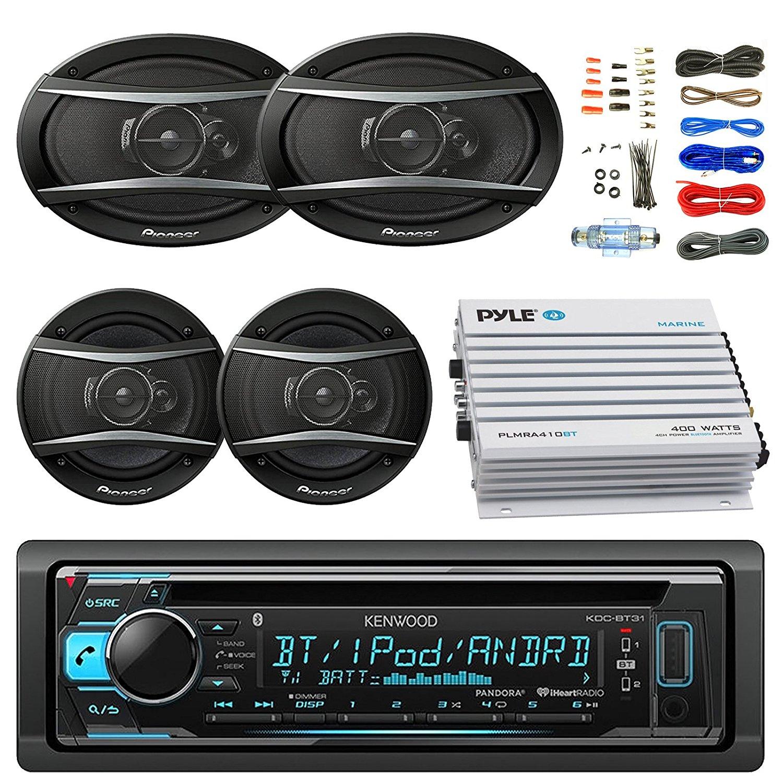 "Kenwood KDCBT32 Car Bluetooth Radio USB AUX CD Player Receiver - Bundle With 2x TSA1676R 6.5"" 3-Way Car Audio Speakers - 2x 6.5""-6.75"" 4-Way Stereo Speaker + 4-Channel Amplifier + Amp Kit"