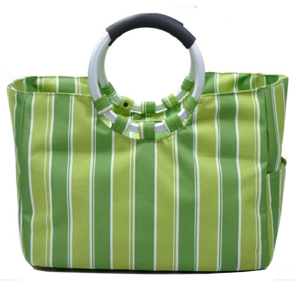1afe278a29 Get Quotations · Brooke   Celine Ice Tote Cooler Bag Green Stripes Foldable  Green