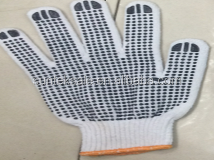 One Side PVC Dotted Gloves,Cotton/Polyester String knit Gloves