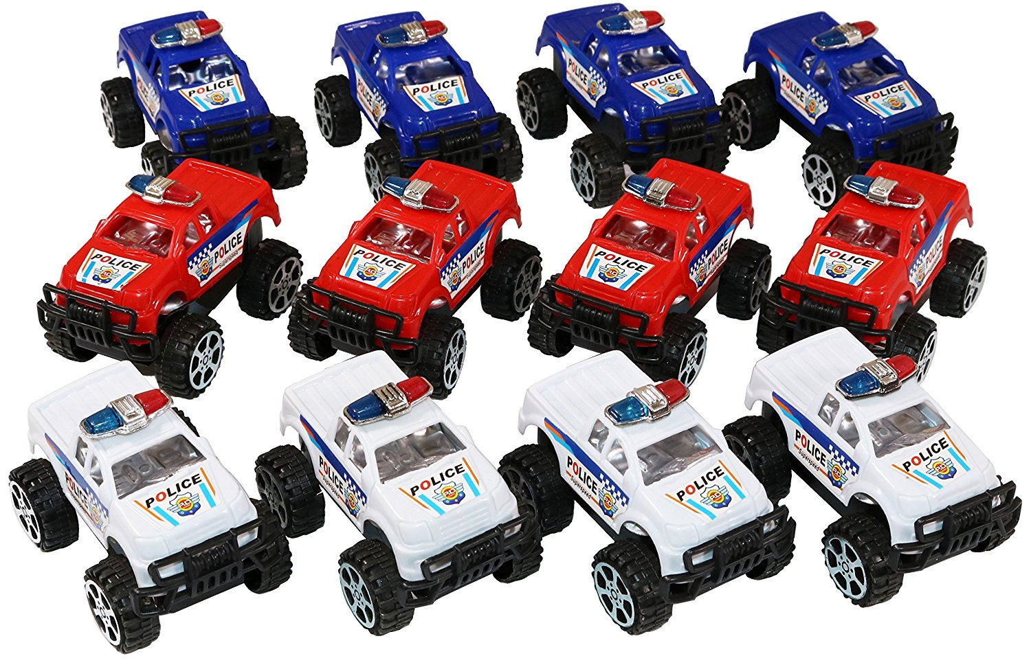 Buy 12 Mini Police Monster Pickup Trucks With Big Wheels Comes In Red Blue And White In Cheap Price On M Alibaba Com