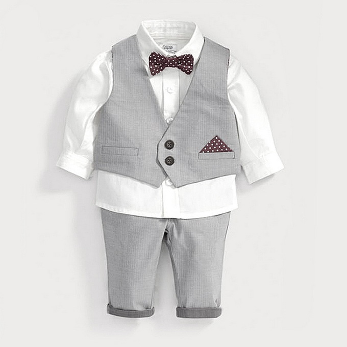 e3e2a4f8f Buy Gentelman Style Boys Suit Sets 4Pic White Shirt Light Gray Vest ...