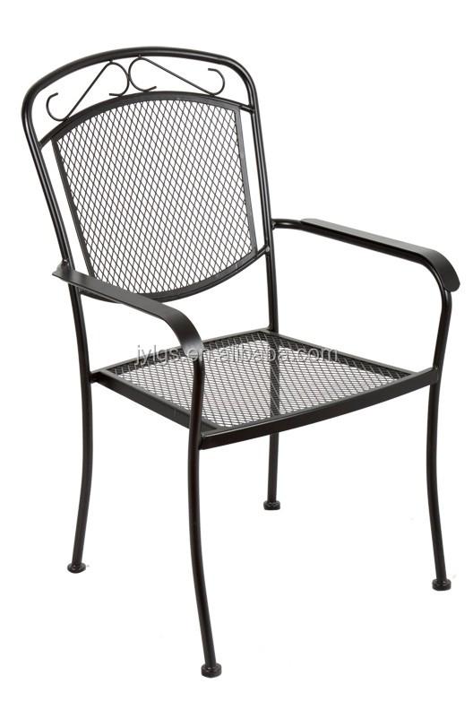 Outdoor Garden Wrought Iron Stacking Chair Aldi Metal Mesh