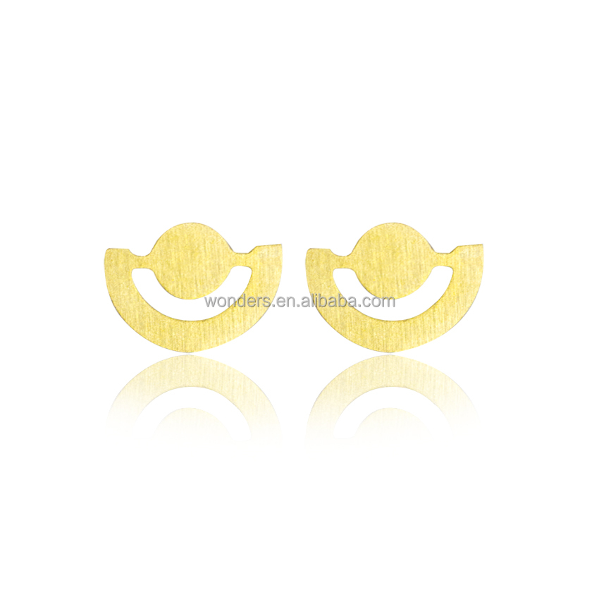 New Fashion Geometric Open Circle Half Circle Novelty Earings For Women Men 2017 Stainless Steel Jewelry Gold Plated