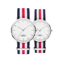 Custom logo 6mm thickness cute couple quartz watches low moq with nylon nato strap