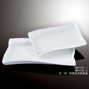Healthy durable white porcelain oven safe phoenix corner rectangular dinner plates 8''