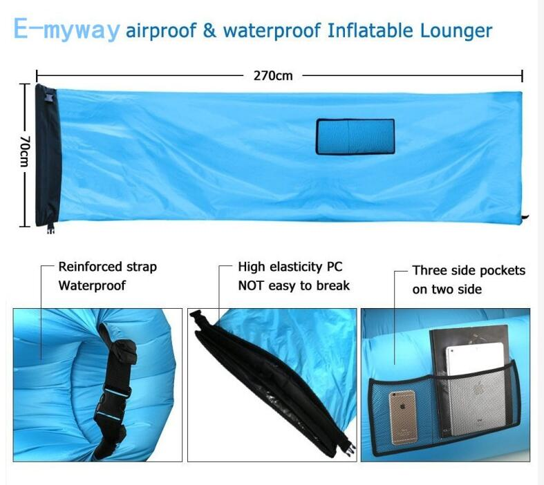 new model Fast Inflatable Sleeping Lay Bag Air Sofa Bed Camping Lounge Chair
