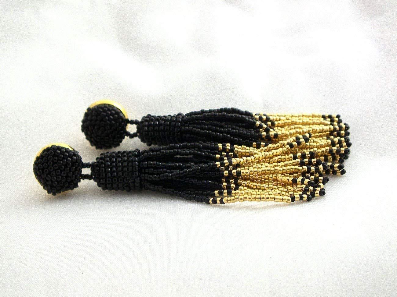 SALE Beaded long tassel earrings, black gold mix tassle earrings, statement seed beads earrings, luxury party earrings, handmade mothers day gifts for women