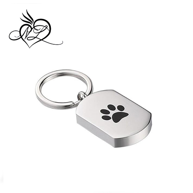 Custom Ashes Keychain Urn Stainless Steel Key Ring Women Men Dog Tag Footprint Ashes Holder