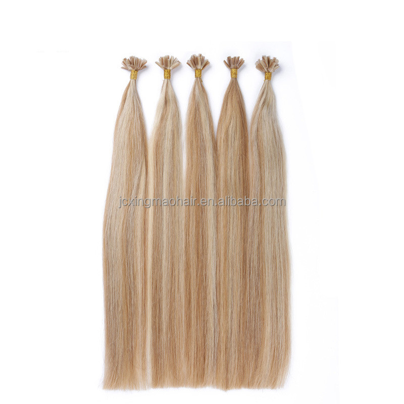 Double drawn U tip keratin hair extension human remy