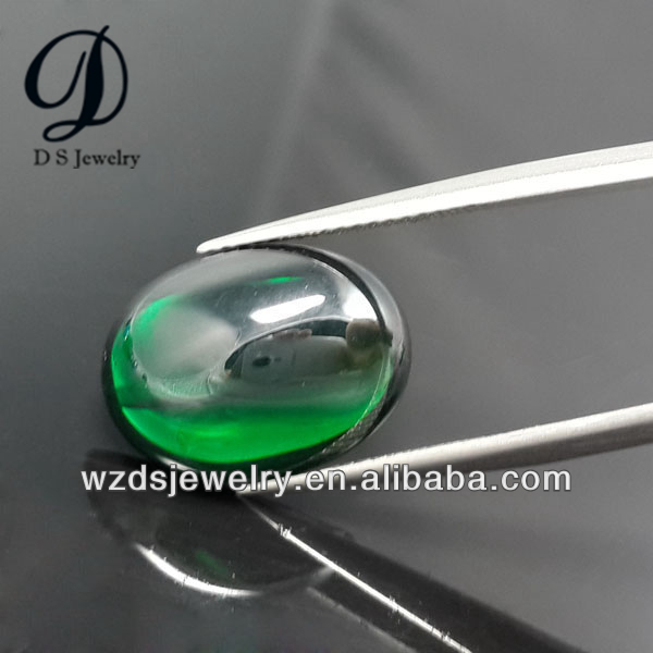 Wholesale AAA Flatback cabochon Oval cut emerald Lab Synthetic Cubic Zircon Stone CZ Gems