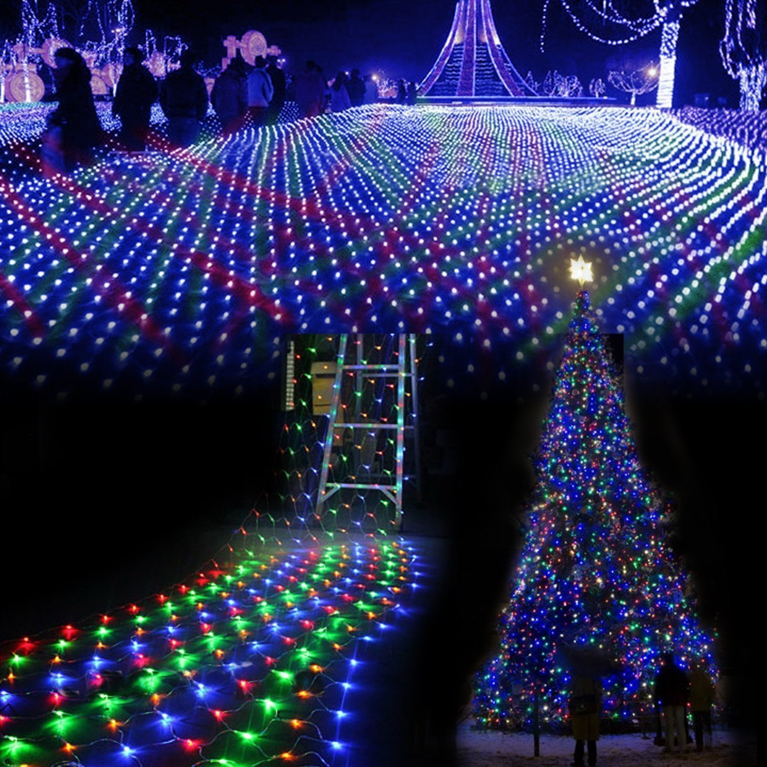 GBB 110V 96LED Mesh Net String Party Lights For Christmas & Halloween Wedding decoration. 8 different modes With Tail Plug (Multicolor 1.5m x 1.5m/4.9ft x 4.9ft) Xmas Sale ! Shop now for best price of season!!!