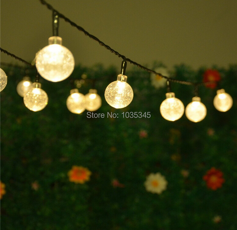 20 LED Solar Powered Outdoor String Lights Crystal Ball