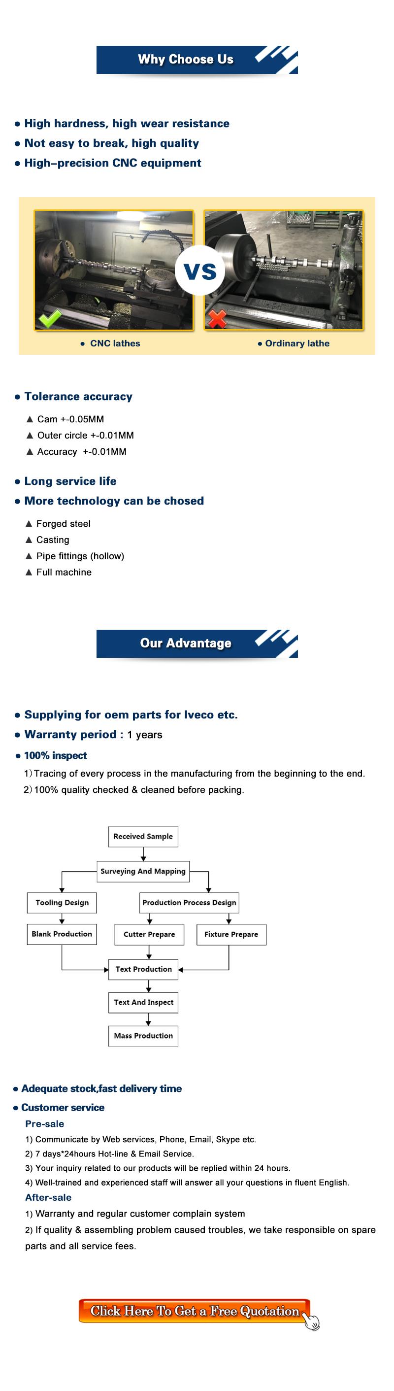 Chất Lượng Ban Đầu Ô Tô Trục Cam Cho TOYOTA 2TR 13501-75060