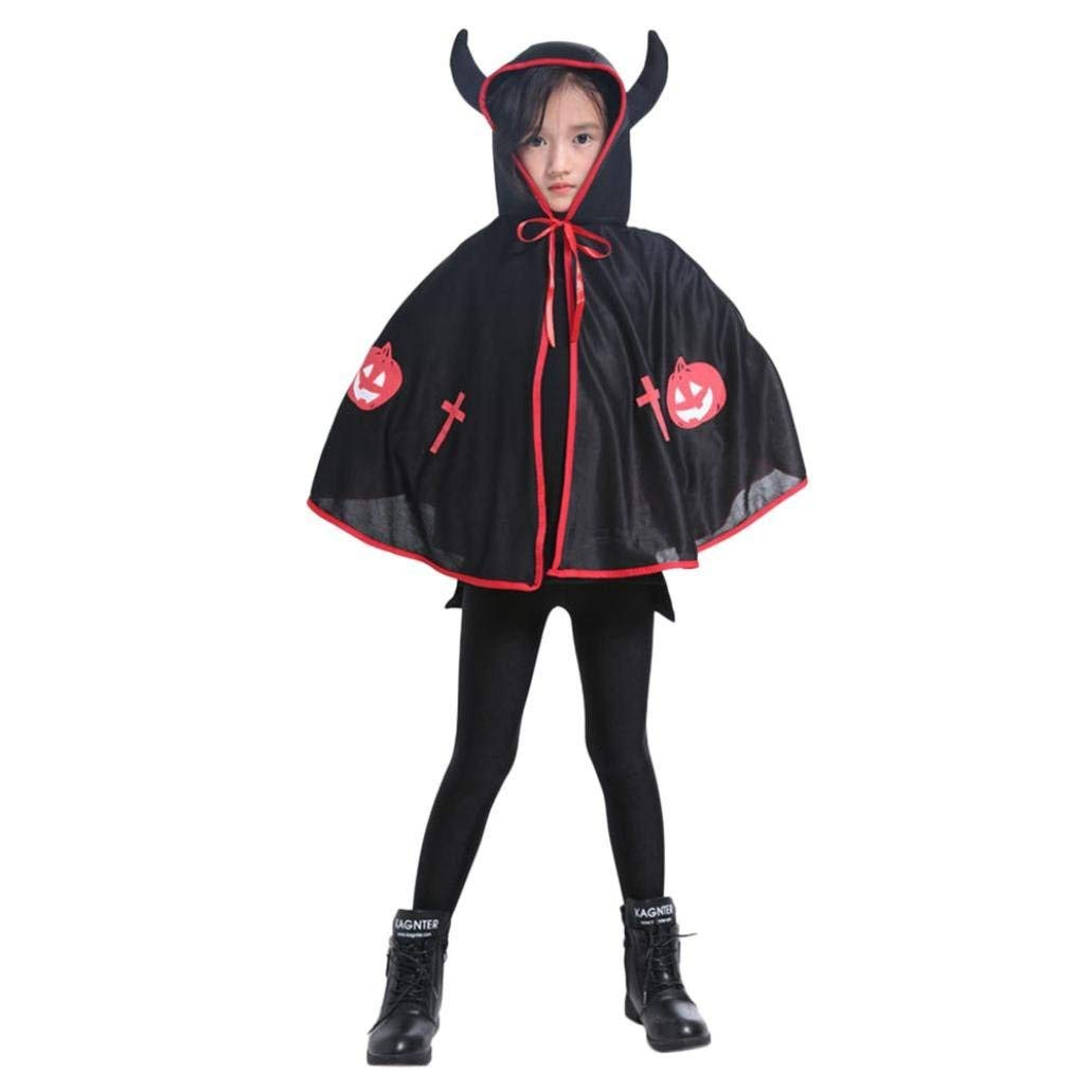 Fiaya Kids Adult Halloween Costume Ox Horn Hooded Cloak Cape Robe for Toddlers Kids Girls Boys Gift