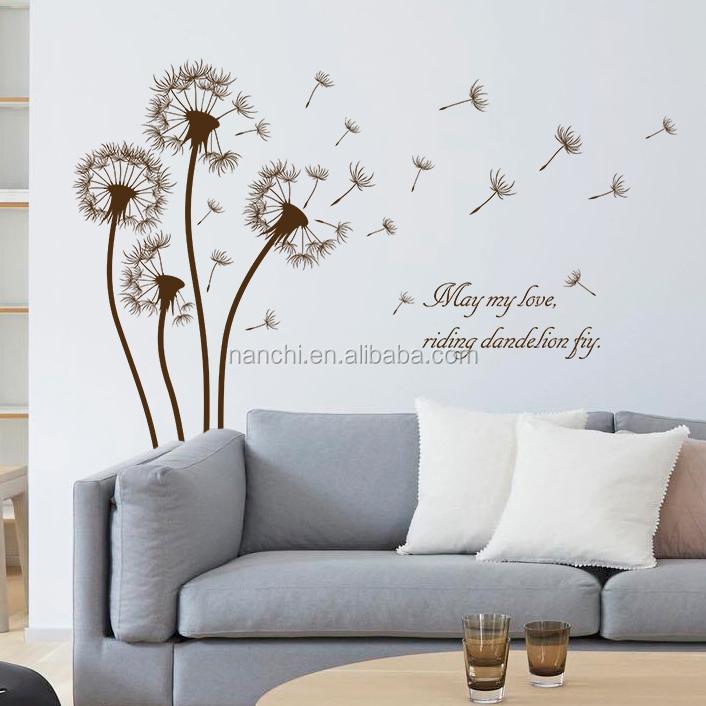 Paardenbloemen fiying woonkamer wanddecoratie decals Bloemen en ...