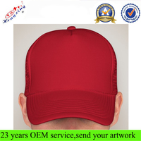 New Design High Quality Cheap Red Spandex Material 5-panel Foam Mesh Trucker Cap