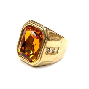Afxsion 2018 new stainless steel cast gold-plated ring inlaid with gem men's ring